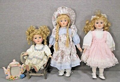 Lot of Three Beautiful Porcelain Dolls, Used, Great Value, Lot 1