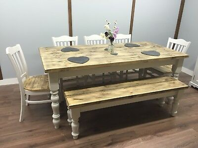 Farmhouse Shabby Chic Rustic 6ft Dining Table Chairs