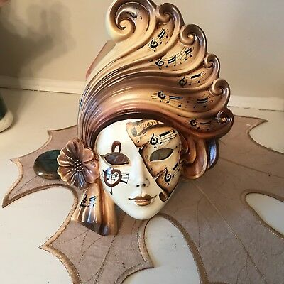 WALL Mask hand painted woman musicalm Notes Venezia Italy opera