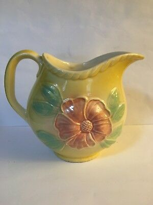 Vintage Hull Yellow Sun Glow Art Pottery Pink Flower Pitcher 24 oz #  52