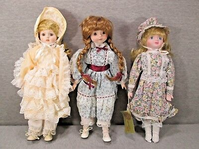 Lot of Three Beautiful Porcelain Dolls, Used, Great Value, Lot 2