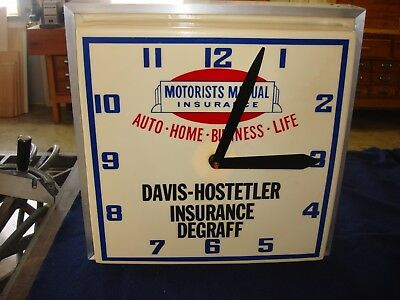 VINTAGE  Motorists Mutual Insurance  Lighted ELECTRIC CLOCK ADVERTISING