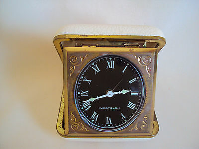 Vintage Westcloc Metal Glass Plastic Travel Clock Alarm Made In Germany Working