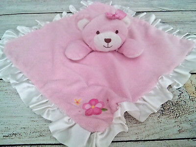 FAO PINK Baby Girl  TEDDY BEAR Flower Babies R Us Ruffle SECURITY LOVEY BLANKET