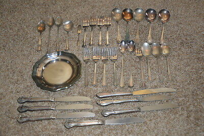 Vintage Silverplate Lot Flatware and Platter 32 pcs