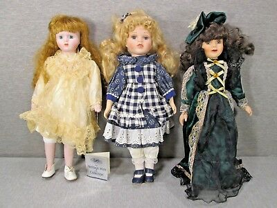 Lot of Three Beautiful Porcelain Dolls, Used, Great Value, Lot 4