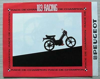 PEUGEOT 103 RACING MOPED Sales Brochure Mid 1980s FRENCH TEXT