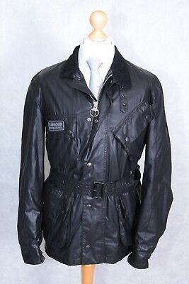 Barbour Men's Carbon Finish International Jacket Coat Belted Size M Medium Black