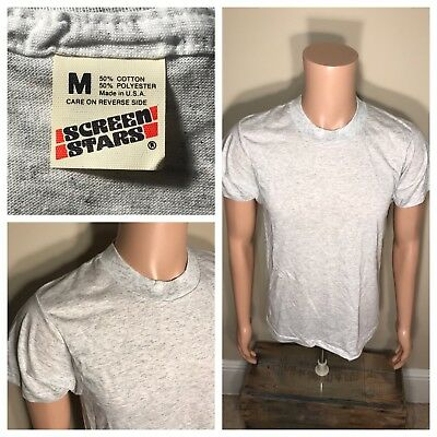Vintage NOS Blank Gray Screen Stars TShirt 50/50 Soft paper Thin 80s DEADSTOCK