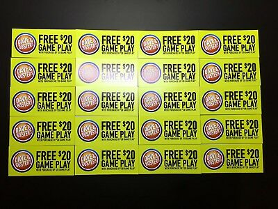Lot of 20 Dave And & Busters D&B $20 gameplay with identical purchase powercard