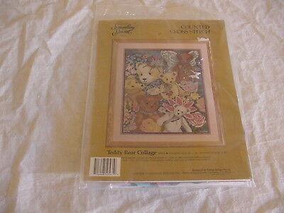 NEW 1990 Something Special TEDDY BEAR COLLAGE counted cross stitch kit, #50561