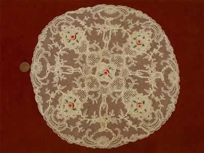 1 SUPERB ROUND Antique VTG SCHIFFLI PETIT POINT EMBROIDERY NET LACE DOILY BASKET