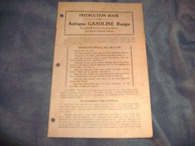 Instruction Book for Autogas GASOLINE Range Sears, Roebuck, and Co. 5M 6-10-28