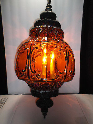 """Vintage 1970s Gothic Medieval Amber Hanging 3 Bulb 2 Setting Lamp 26'x12"""""""