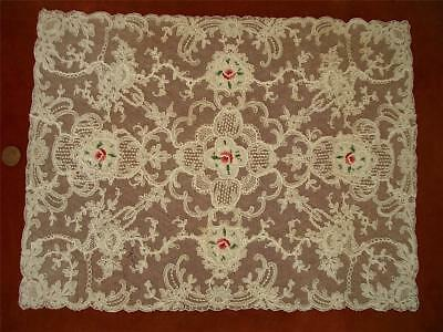 1 SUPERB REC Antique VTG SCHIFFLI PETIT POINT EMBROIDERY NET LACE DOILY  *BASKET