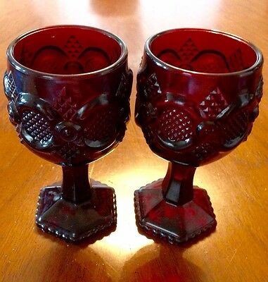 AVON Ruby Red Cape Cod Water Goblets