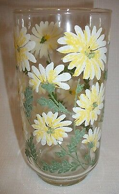 LIBBEY Raised White Daisy Flower 16 0z Water Glass, Tumbler, Vintage MidCentury