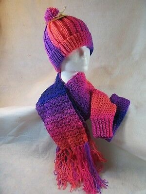 Flamingo Colors Hand Crochet Hat, Scarf and Fingerless Glove Set-- FREE SHIPPING