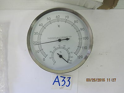 "Stainless Steel Dial Thermo-Hygrometer, 5"" Dial, 0 to 120 Degrees C"