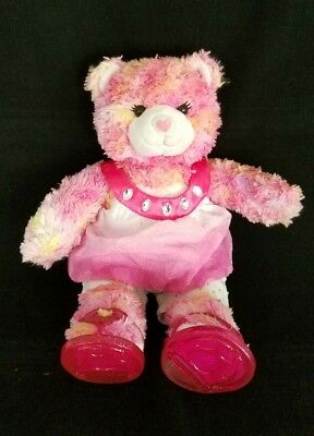 "Build A Bear Workshop BABW 16"" Plush Tie-Dye Pink Orange Yellow Bear Heart Shoes"
