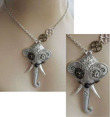 Silver Steampunk Elephant Pendant Necklace Jewelry Handmade NEW Fashion Cosplay