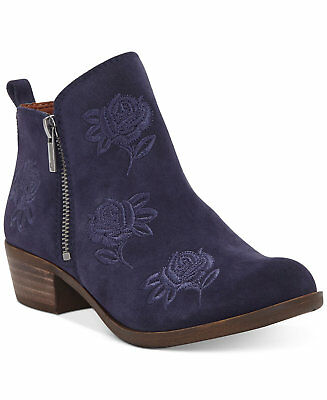 Lucky Brand LK-Basel5 Moroccan Blue Oiled Suede Rose Embroidered Ankle Booties