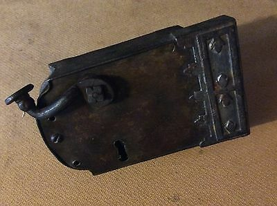 Large Antique Iron / brass Lock Lever Door Handle with Vintage Old