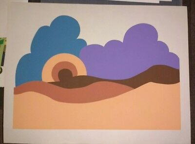 Vintage 70s Pop Art Silkscreen Poster Print Abstract Mountain Sun Unknown Artist