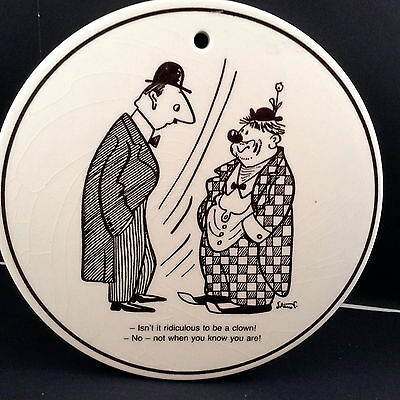 Storm P Cartoon Humor By Knabstrup Ridiculous To Be Clown Danish Pottery Plaque