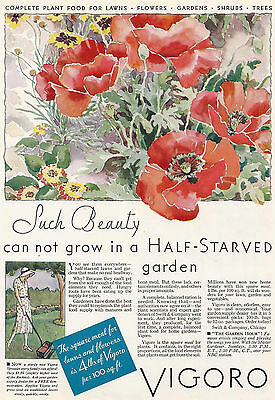 1932 Ad Vigoro Lawn Garden Food Flowers Red Poppies Lady Spreader-Tricker Lily