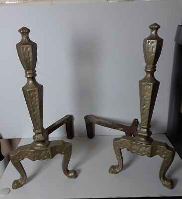 VTG Pair Gold-Painted Cast Iron Ornate Fireplace Andirons