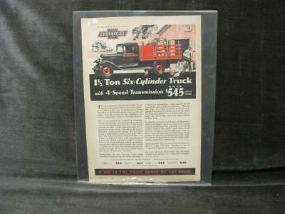 Vintage Chevrolet Utility Truck 1 1/2 Ton Six-Cylinder Color AD 1929  w/ Prices