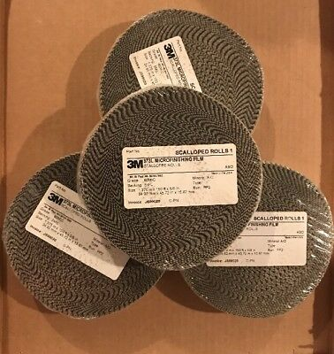 "NEW 1 Case 3M 373L Microfinishing Film 4 Scalloped Rolls 1.375"" 150ft 5/8 60 MIC"