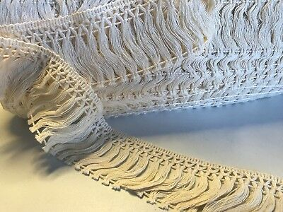 Cream 4cm Trim Tassel Fringe Cotton Lace Ribbon Price per 30cm DIY Craft