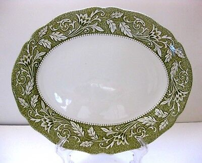 """Pre-Owned J&g Meakin """"Victoria Green"""" Ironstone Oval Serving Platter 11 3/4 Inch"""