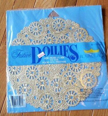 """Vintage Festive Doilies Royal Lace Gold 10"""" - 8 in Package NIP"""
