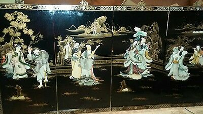 Set Of 4 Vintage Chinese Black Laquer Wood Mother Of Pearl Wall Hanging Panel