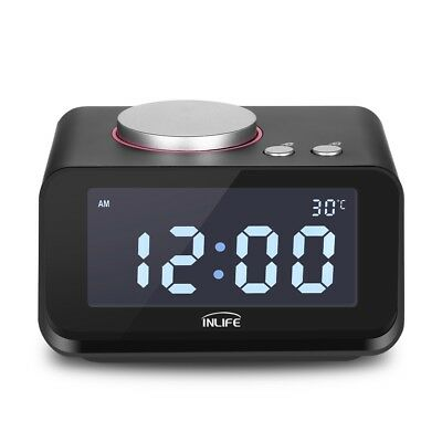 K1 LCD Display Alarm Clock Radio with Thermometer Dual USB Charger Aux Car Play