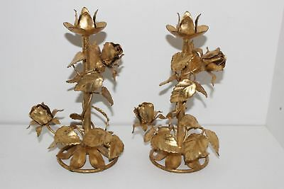 Pair Of Vintage Italian Gold Leaf Tole Single Candle/candlestick Holders-Roses