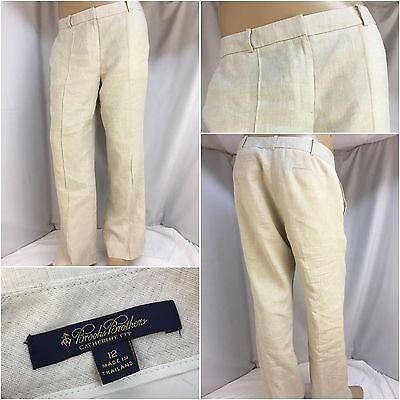 Brooks Brothers Pants Sz 12 Beige 100% Linen Catherine Fit Worn Once YGI 4533