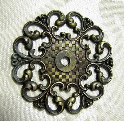 Large Vintage David Allison Brass Filigree Trim Drawer Pulls Plates Lot Of 3