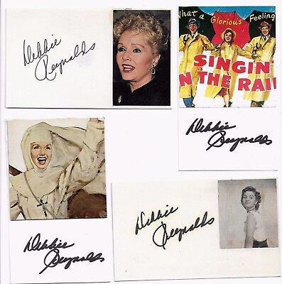 "DEBBIE REYNOLDS Signed 3x5 Index Card ""SINGING IN THE RAIN"""