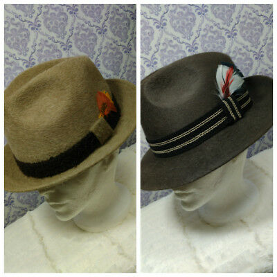 Vintage Fur Felt Fedora Hats Lot Of 2 Lee Royal and Robert Hall Mens Size 6 7/8