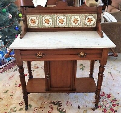 Antique Eastlake Marble Top Washstand With Drawer and Tile Backsplash 1800's