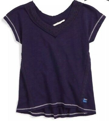 "ROXY GIRLS ~NWT! ""Flurries"" Crochet Trim SS T-Shirt Top Navy Sz 8 / 10 $28 Cute"