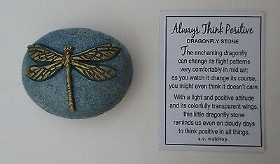 r E gold on blue ALWAYS THINK POSITIVE dragonfly stone ganz