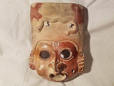 Tribal Mask VINTAGE Original Terracotta  Pottery Man Face w/ SNAKE