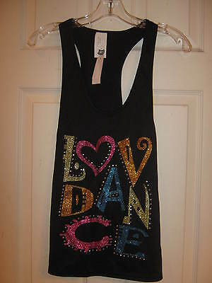 "NEW Long black over tank, ""LOVE DANCE"" Child size Medium - Curtain Call w/ tags"