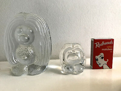 glass troll norway vintage pair ( two )