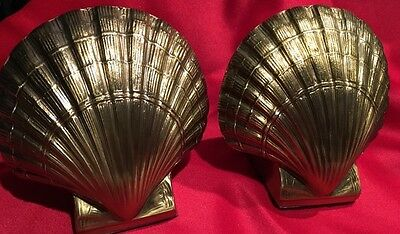 Vintage Heavy Solid Brass PMC Book Ends Sea Shell Shaped 4-14 Lb *